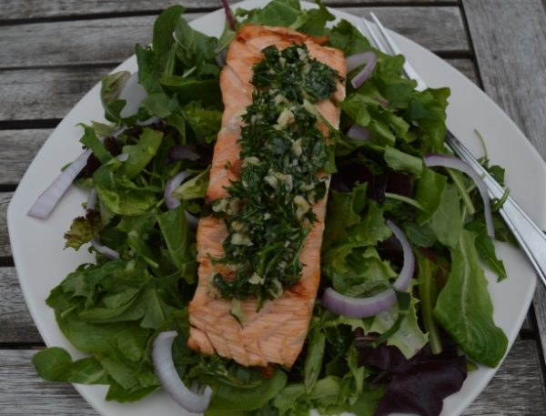 Wild Salmon with Basil Pesto