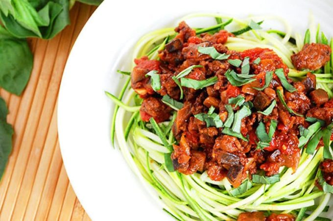 Eggplant Bolognese with Zucchini Noodles