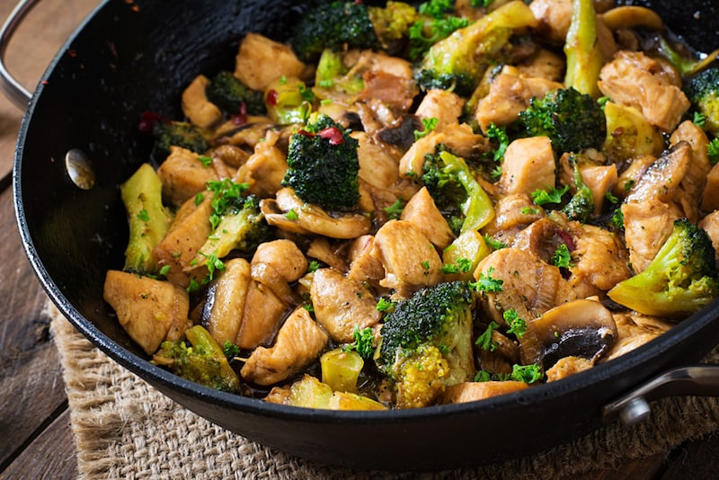 ASIAN BROCCOLI CHICKEN AND MUSHROOM STIR-FRY